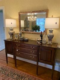 Knob Creek Server, Antique mirror and super new and modern gold lamps!!