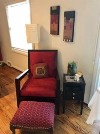 Cute chair, ottoman and side table.