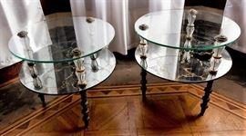 Vintage Goran Belgium Glass End Tables