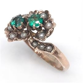 Victorian Emerald, Seed Pearl and Rose Gold Ring
