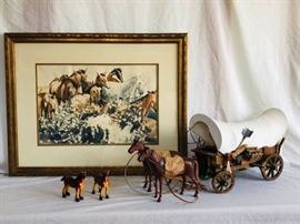 Vintage Covered Wagon Horse Water Color