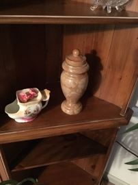 Marble jar with lid and planter