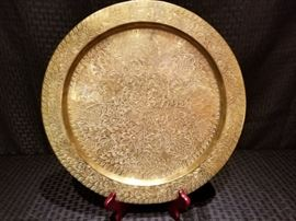Vintage Indian Brass Decorative Plate
