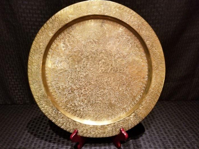 Vintage Indian Brass Decorative Plate