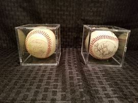 Signed Baseballs by Roy Smalley and Lefty Luke