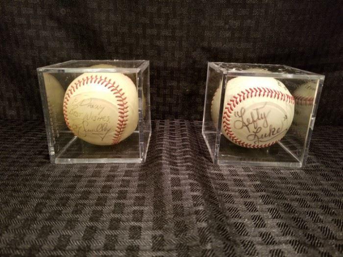 Signed Baseballs by Roy Smalley and Lefty Luke
