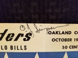 Oakland Raiders Game Day Magazine signed by O.J. Simpson