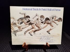 National Track and Field Hall of Fame Brochure inscribed by Jesse Owens