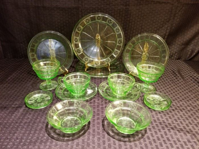 Doric Depression Glass Two Place Settings