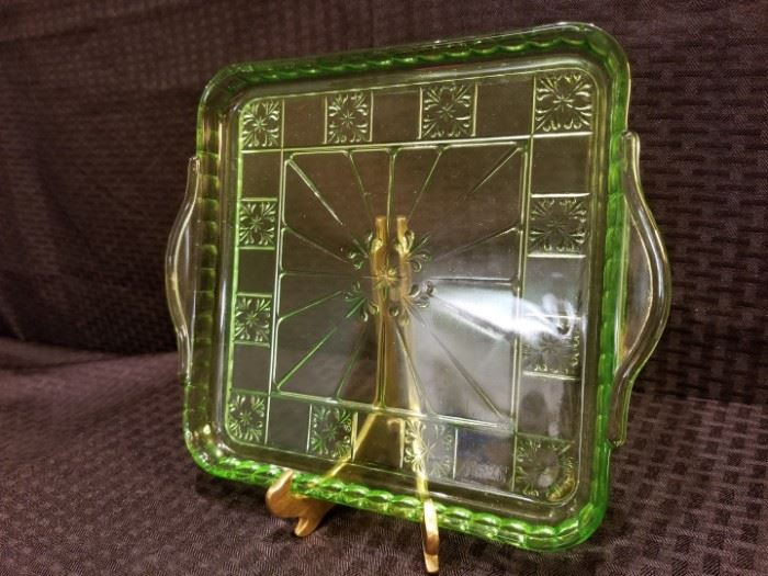 Doric Depression Glass Handled Tray