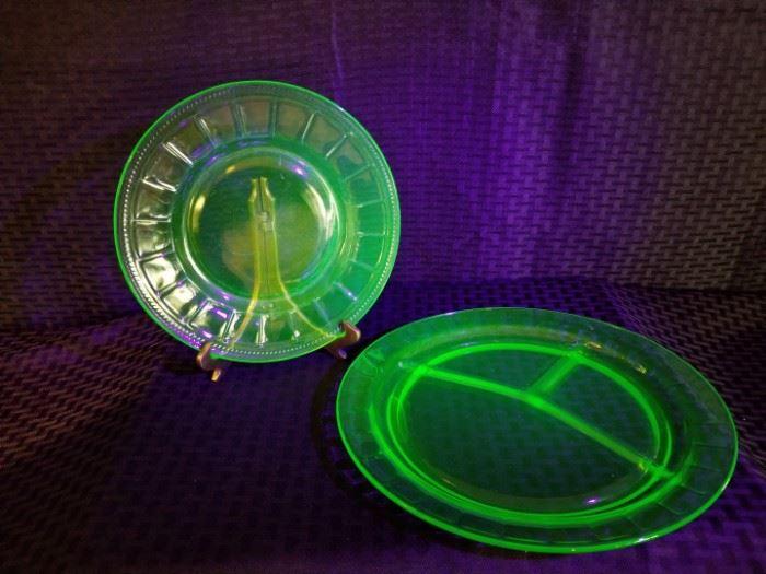 Block Depression Glass Plates