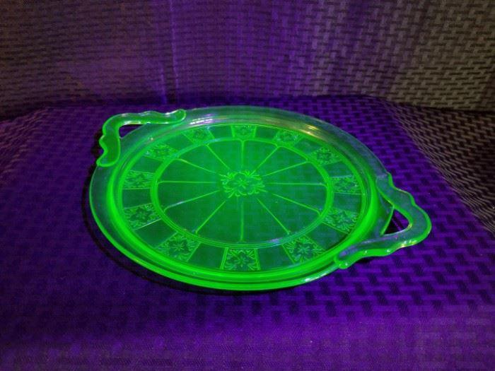Doric Depression Glass Cake Tray
