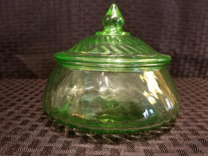 Swirl Depression Glass Candy Dish