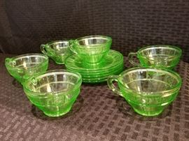 Doric Depression Glass Cups and Saucers