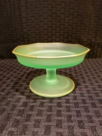 Depression Glass Frosted Green Sherbert Glass