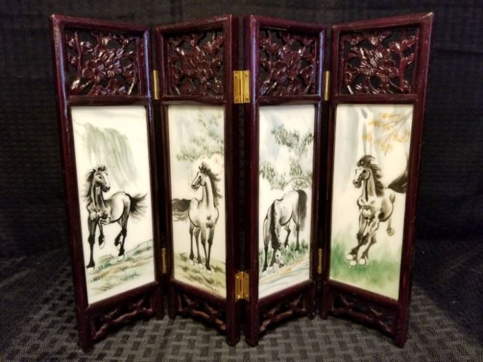 Vintage Chinese Tabletop 4 Panel Marble Screen