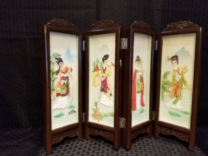 Vintage Chinese Table Screen Shadowbox