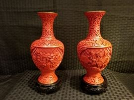 Vintage Chinese Carved Cinnabar Lacquer Vases