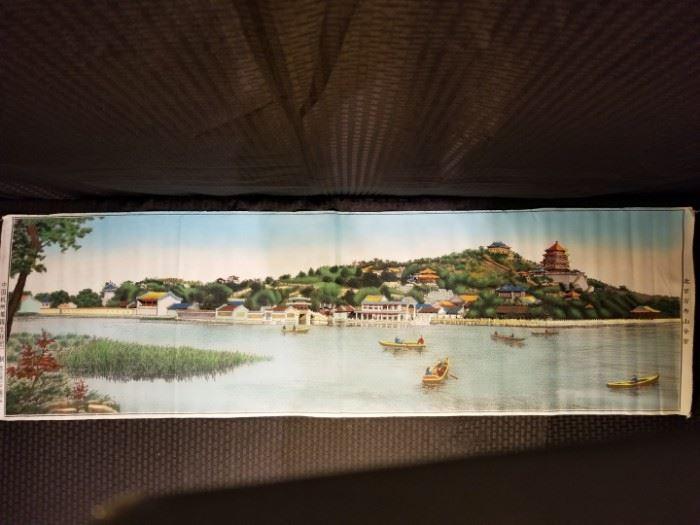 Vintage Unframed Chinese Silk Embroidery Wall Hanging - Beijing Wanshou Mountain Panorama