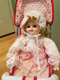 Vintage Doll and Foldable Stroller