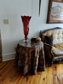 Z Fusion Glass Vase & Custom covered side tables