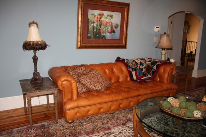 Old Hickory Tannery Tufted Leather Sofa