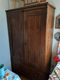 Early 19th Century Country Pine Wardrobe - Hand-planed Boards and Square -Cut Nails;  Functional Interior Is a Later Addition