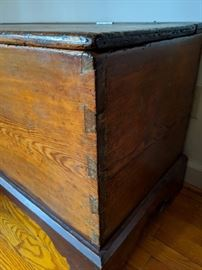 Early Dove-Tailed Pine Blanket Chest- Posdibly Federal