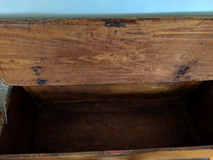 Blanket Chest Clise up of Interior and Lid (Holes From Original Hinges Visible)