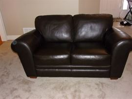 4 Piece Leather Living room set in Dark Chocolate - Sofa/Loveseat/Chair & Ottoman! Excellent condition!