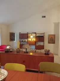 Mid-Century Dining Room Table w/ 6 chairs. Console/ Sideboard, two End Tables, and Wall Unit.