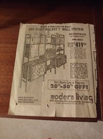 Danish Mid Century Wall Unit original ad from Modern Living.