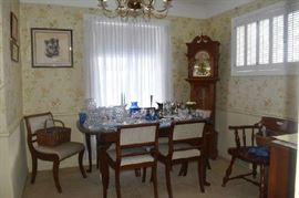 Overview Dining Room Walnut Table & Chairs, China Cabinet, Grandfather Clock, Fostoria Americana, Art, Silver Items