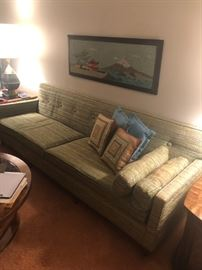 1960 original fabric sofa with matching mid century chair