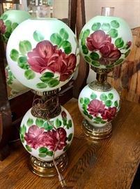 2 Matching Antique Globe Hand Painted Lamps