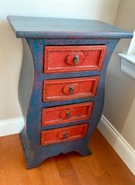 Shabby Chic Blue side table with four drawers