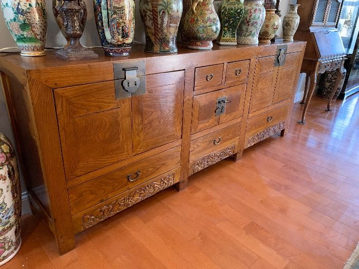 """Stunning Chinoiserie sideboard measures 94""""Wx37""""H"""