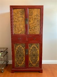 """Red Chinoiserie Hand-painted storage cabinet...there are two!  They measure 34.5""""W x 73""""H"""