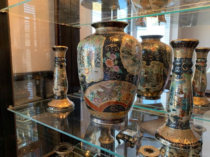 Large Collection of Asian Porcelain Ginger Jars and Vases.