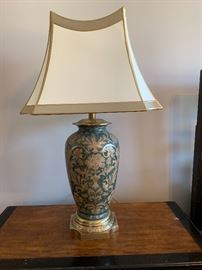 Pair of brass and enamel lamps