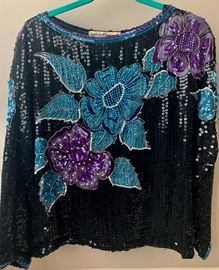 Selection of vintage long sleeve sequin tops