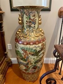 Pair of large Satsuma floor vases