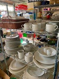 White ceramic dinnerware and serving pieces