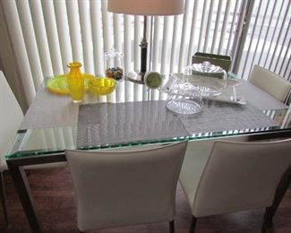 Glass Top Table and 4 white leather chairs...yes near perfect