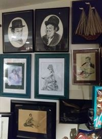 Laurel and Hardy...Clark Gable and other wall pictures