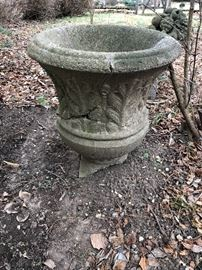 Concrete Garden Vessel or Urn (Damaged- Sold As Is)