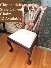 Chippendale style carved dining room chair (one of 12)