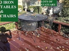 Wrought Iron Patio table with chairs (one of 3 sets)