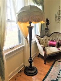 Victorian Style carved Mahogany floor lamp