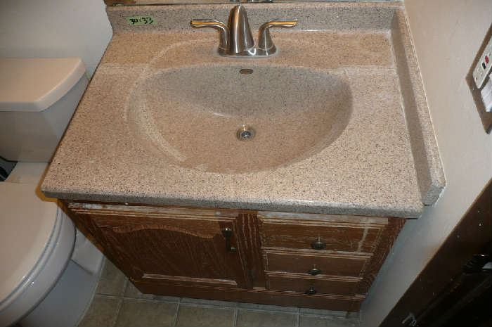 "Viewing starts at 9:00 am Auction starts at 10:00 am sharp!! 30"" OAK VANITY WITH CORIAN TOP & FAUCET"